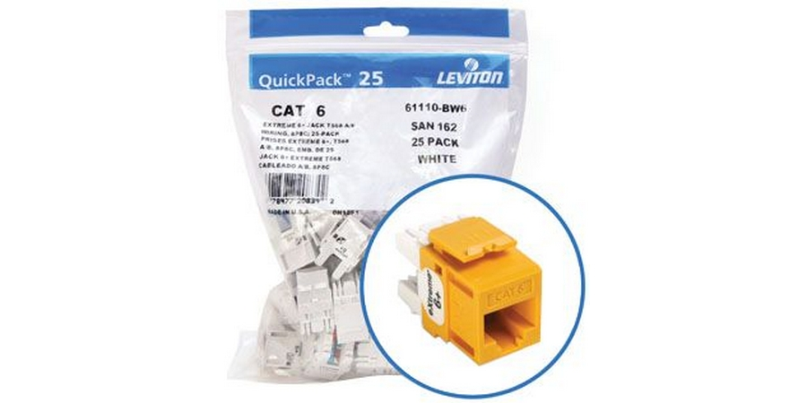 Contractor Pack 25 Leviton Cat 6 Jacks (Yellow) - Chris Supply Company