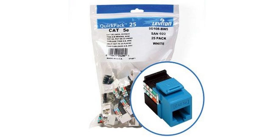 Brilliant Contractor Pack 25 Leviton Cat 5E Jacks Blue Chris Supply Company Wiring Digital Resources Bemuashebarightsorg